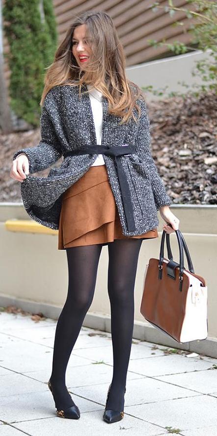 camel-mini-skirt-suede-grayd-cardiganl-belt-black-tights-black-shoe-pumps-cognac-bag-tote-fall-winter-hairr-work.jpg