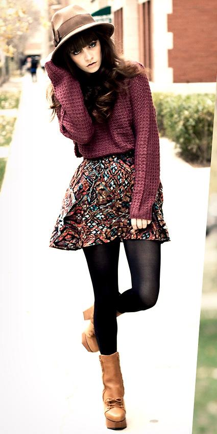 camel-mini-skirt-print-black-tights-burgundy-sweater-cognac-shoe-booties-hat-fall-winter-brun-lunch.jpg