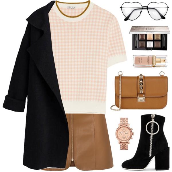 camel-mini-skirt-peach-sweater-black-jacket-coat-black-shoe-booties-watch-cognac-bag-fall-winter-lunch.jpg