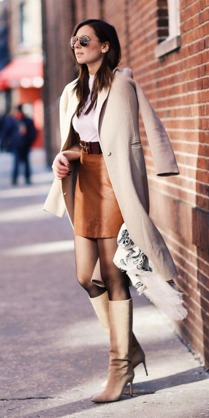 camel-mini-skirt-white-top-belt-black-tights-tan-shoe-boots-tan-jacket-coat-layer-fall-winter-hairr-lunch.jpg
