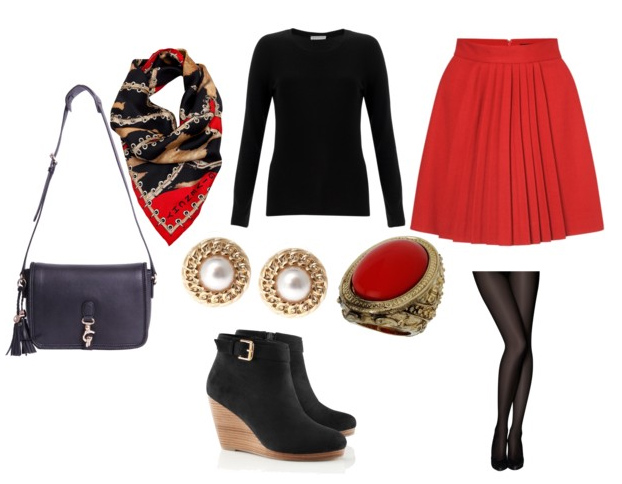 orange-mini-skirt-black-tee-ring-studs-orange-scarf-neck-black-tights-black-shoe-booties-black-bag-howtowear-valentinesday-outfit-fall-winter-dinner.jpg