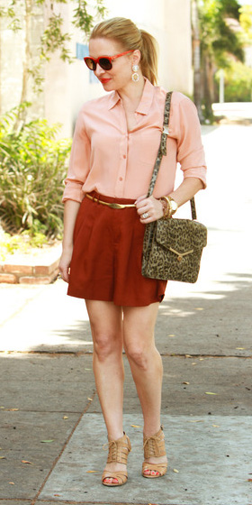 orange-mini-skirt-pony-sun-tan-shoe-sandalh-peach-collared-shirt-spring-summer-blonde-lunch.jpg