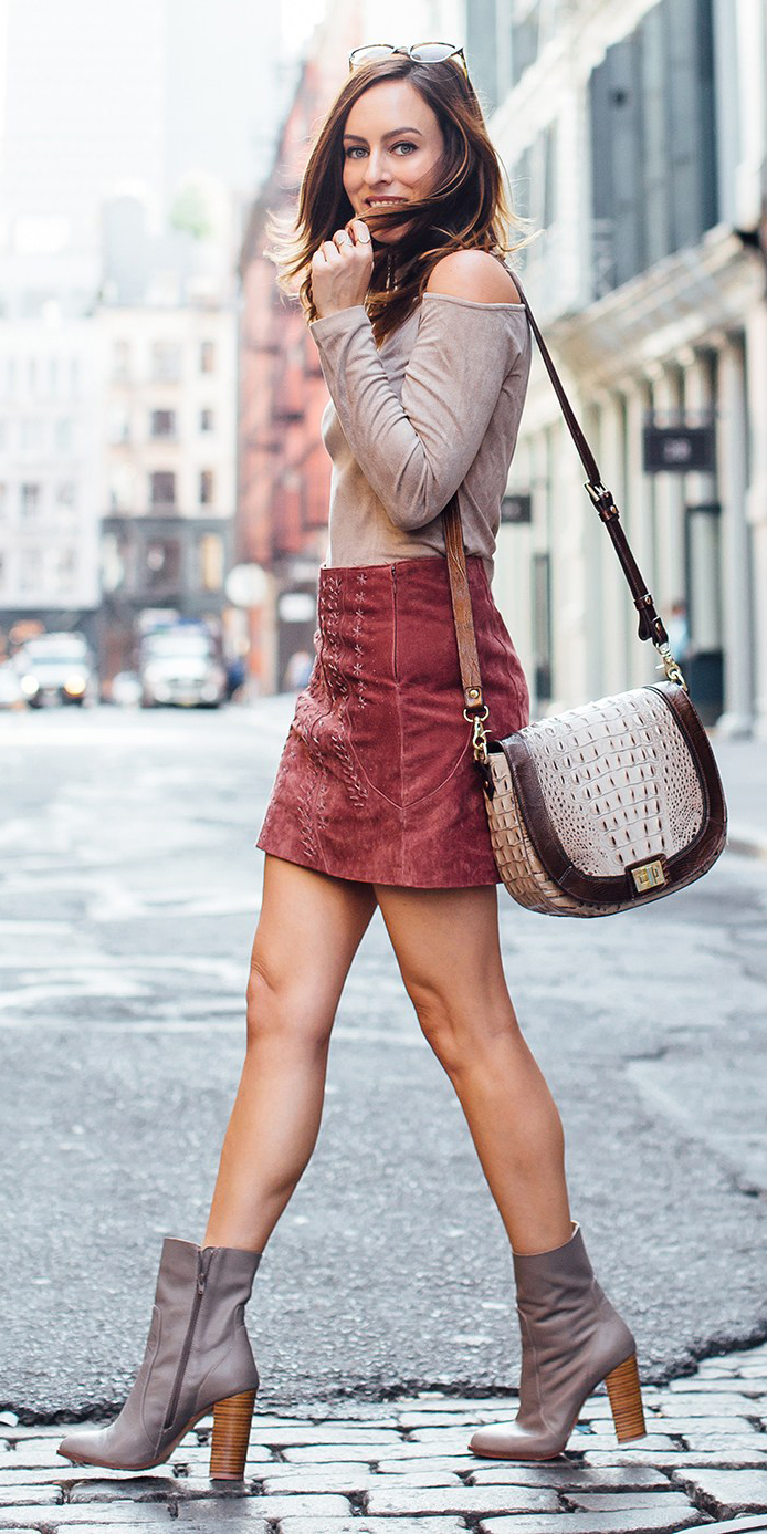 orange-mini-skirt-tan-top-offshoulder-corduroy-tan-shoe-booties-fall-winter-hairr-lunch.jpg