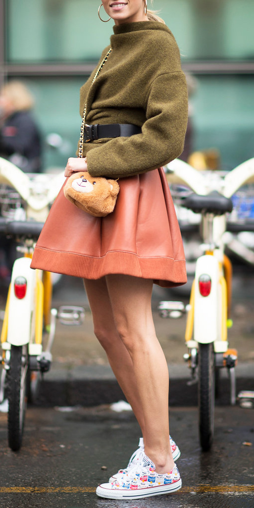 orange-mini-skirt-belt-tan-bag-white-shoe-sneakers-green-olive-sweater-hoops-blonde-pony-fall-winter-weekend.jpg