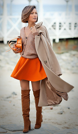 orange-mini-skirt-tan-cardigan-tan-jacket-coat-hairr-bob-orange-bag-cognac-shoe-boots-fall-winter-lunch.jpg