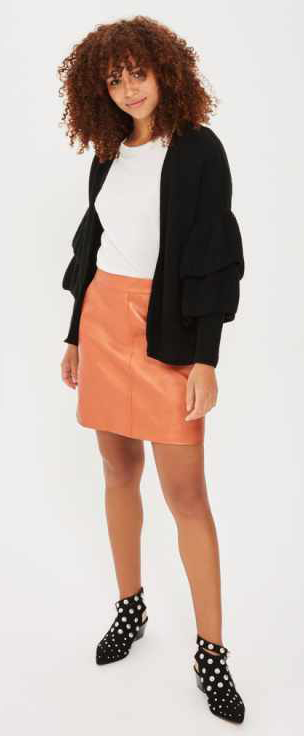 orange-mini-skirt-white-tee-black-cardigan-black-shoe-booties-howtowear-fall-winter-brun-lunch.jpg
