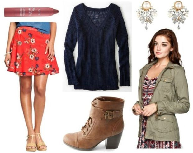 orange-mini-skirt-blue-navy-sweater-green-olive-jacket-utility-cognac-shoe-booties-howtowear-fashion-style-outfit-fall-winter-floral-skater-earrings-jewel-date-dinner.jpg