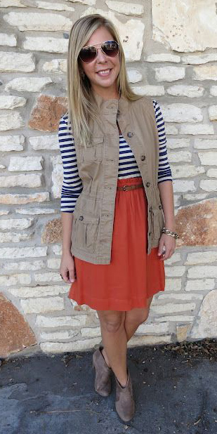 orange-mini-skirt-belt-blue-navy-tee-stripe-tan-vest-utility-tan-shoe-booties-sun-blonde-fall-winter-weekend.jpg