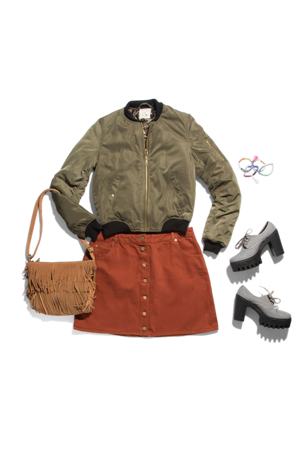 orange-mini-skirt-green-olive-jacket-bomber-cognac-bag-gray-shoe-brogues-howtowear-fashion-style-outfit-fall-winter-button-oxford-platform-lunch.jpg