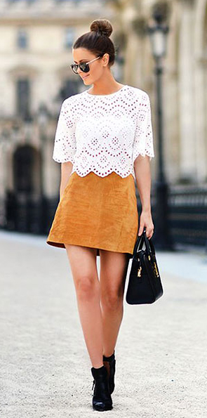 yellow-mini-skirt-white-top-blouse-lace-suede-black-shoe-booties-black-bag-sun-bun-mustard-howtowear-fashion-style-outfit-spring-summer-brun-lunch.jpg