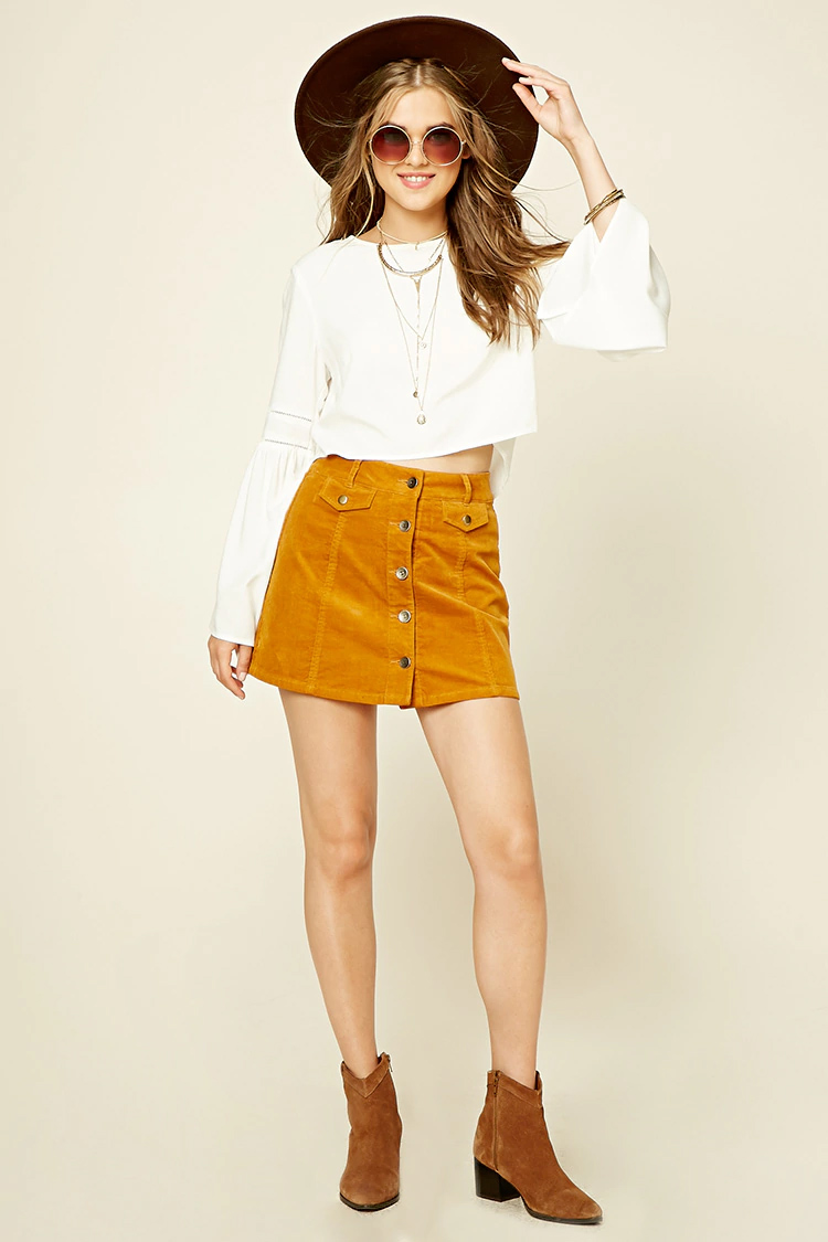 yellow-mini-skirt-white-top-blouse-peasant-sun-necklace-wear-style-fashion-spring-summer-button-cognac-shoe-booties-hat-blonde-lunch.jpg
