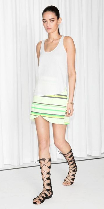 green-light-mini-skirt-stripe-white-top-tank-black-shoe-sandals-gladiators-pony-spring-summer-weekend.jpg