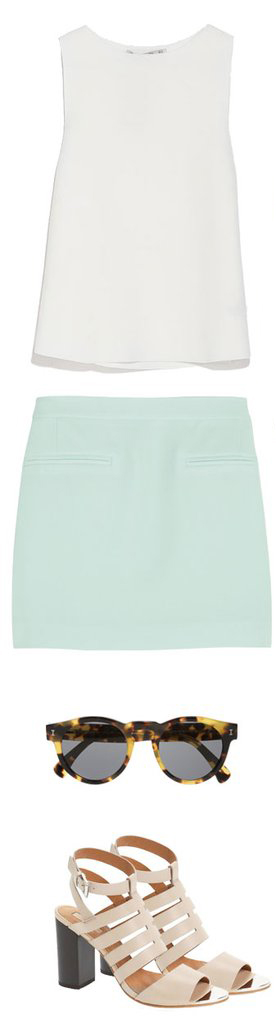 green-light-mini-skirt-mint-white-top-tan-shoe-sandalh-sun-howtowear-fashion-style-outfit-spring-summer-lunch.jpg