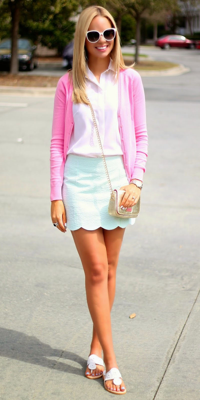 green-light-mini-skirt-pink-light-collared-shirt-pink-light-cardigan-white-shoe-sandals-tan-bag-sun-blonde-spring-summer-lunch.jpg