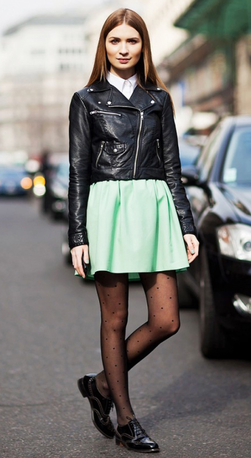 green-light-mini-skirt-white-collared-shirt-dot-black-jacket-moto-wear-style-fashion-fall-winter-black-shoe-brogues-black-tights-hairr-lunch.jpg