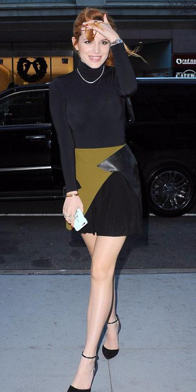 green-olive-mini-skirt-black-tee-turtleneck-black-shoe-pumps-necklace-pony-bellathorne-wear-style-fashion-fall-winter-hairr-dinner.jpg