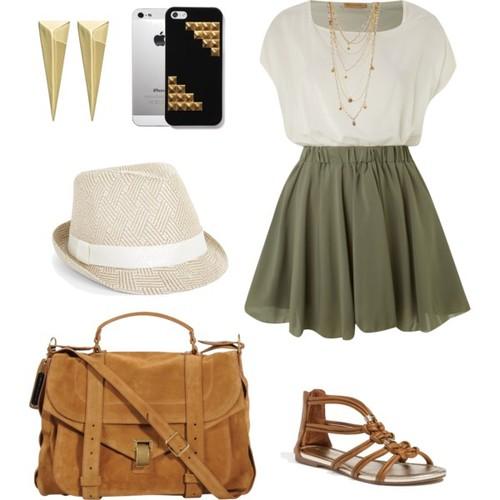 green-olive-mini-skirt-white-top-necklace-studs-cognac-bag-cognac-shoe-sandals-hat-spring-summer-weekend.jpg