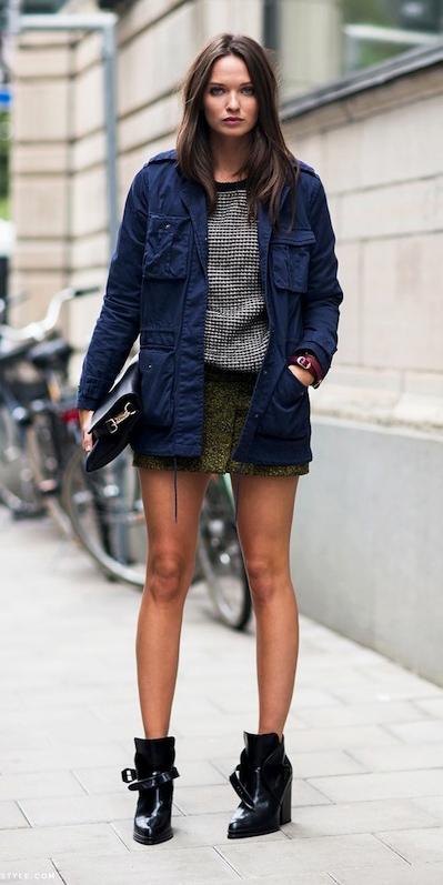 blue-navy-jacket-utility-green-olive-mini-skirt-brun-black-shoe-booties-black-bag-fall-winter-weekend.jpg