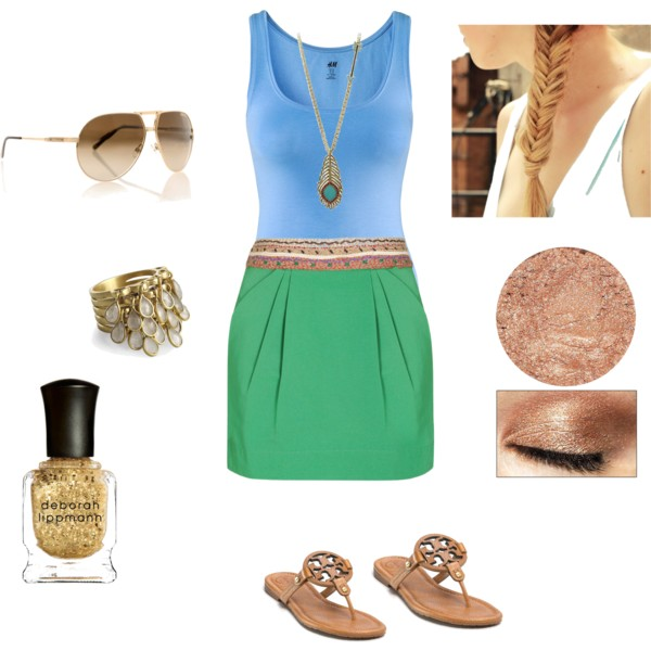 green-emerald-mini-skirt-blue-light-top-tank-braid-tan-shoe-sandals-sun-nail-necklace-pend-howtowear-fashion-style-outfit-spring-summer-lunch.jpg