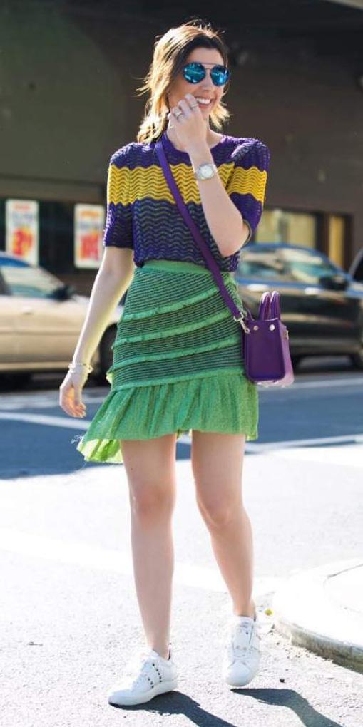 green-emerald-mini-skirt-purple-royal-sweater-purple-bag-hairr-sun-white-shoe-sneakers-fall-winter-weekend.jpg