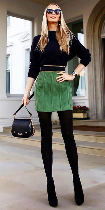 green-emerald-mini-skirt-black-sweater-blonde-sun-black-tights-black-bag-fall-winter-dinner.jpg