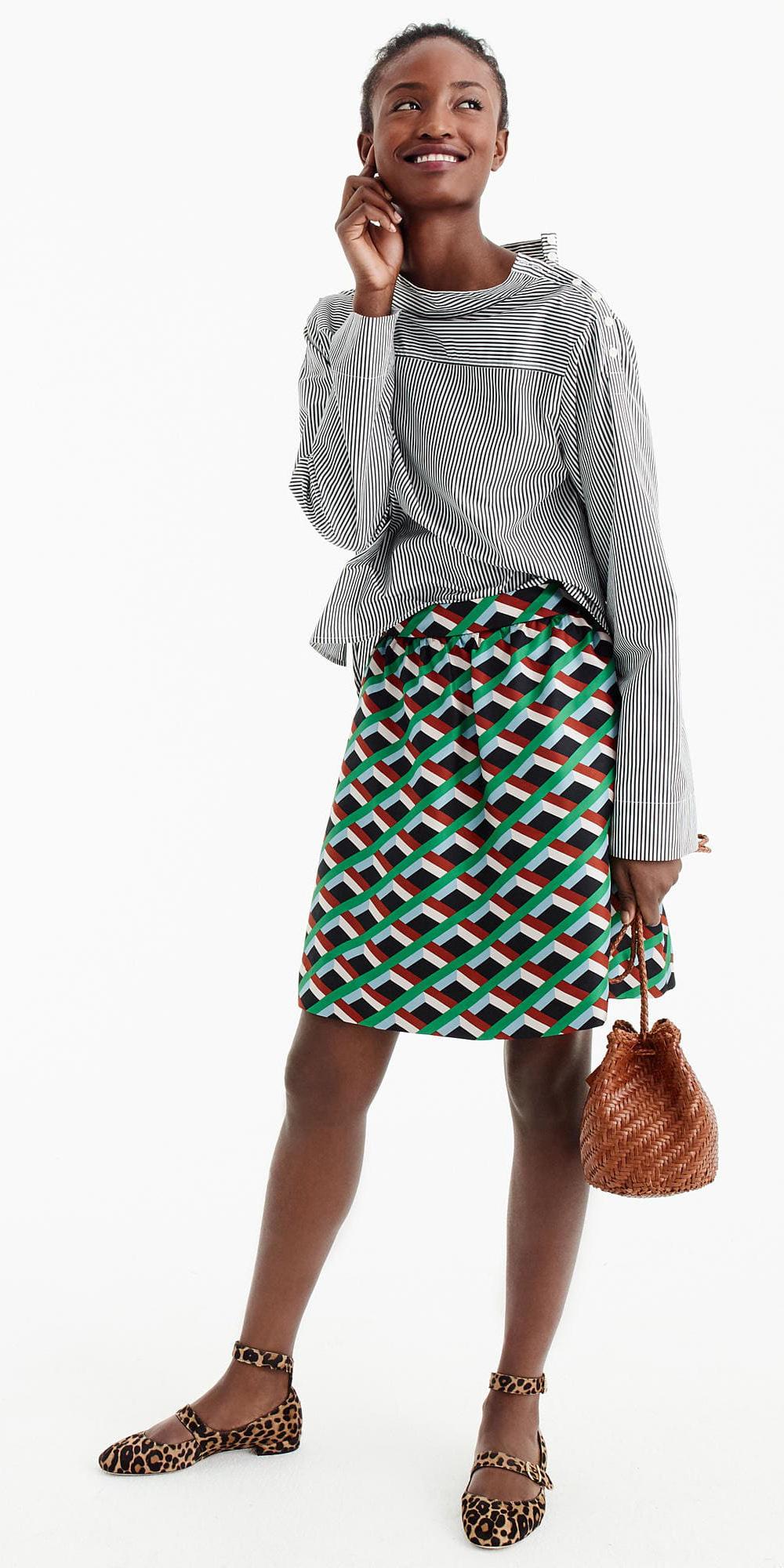 green-emerald-mini-skirt-print-cognac-bag-brun-tan-shoe-flats-leopard-fall-winter-weekend.jpg