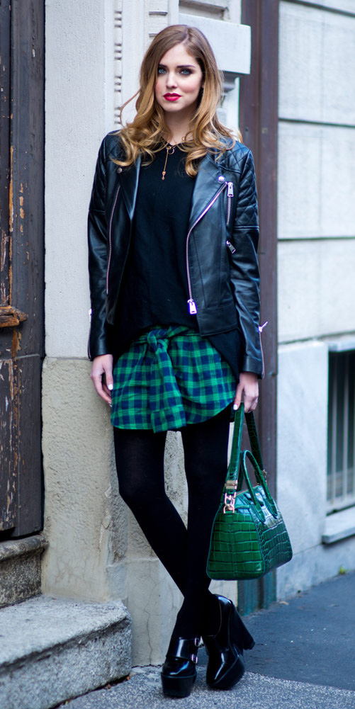 green-emerald-mini-skirt-black-sweater-black-jacket-moto-plaid-black-tights-black-shoe-booties-green-bag-necklace-howtowear-fashion-style-outfit-hairr-fall-winter-lunch.jpg