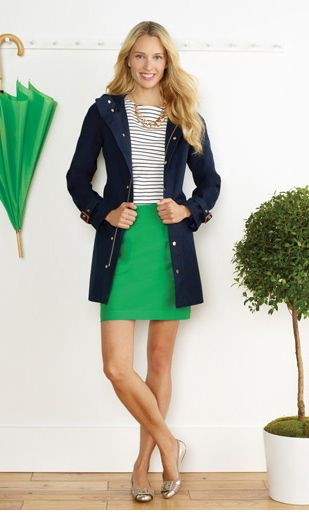 green-emerald-mini-skirt-blue-navy-tee-stripe-blue-navy-jacket-anorak-necklace-tan-shoe-flats-howtowear-fashion-style-outfit-spring-summer-blonde-lunch.jpg