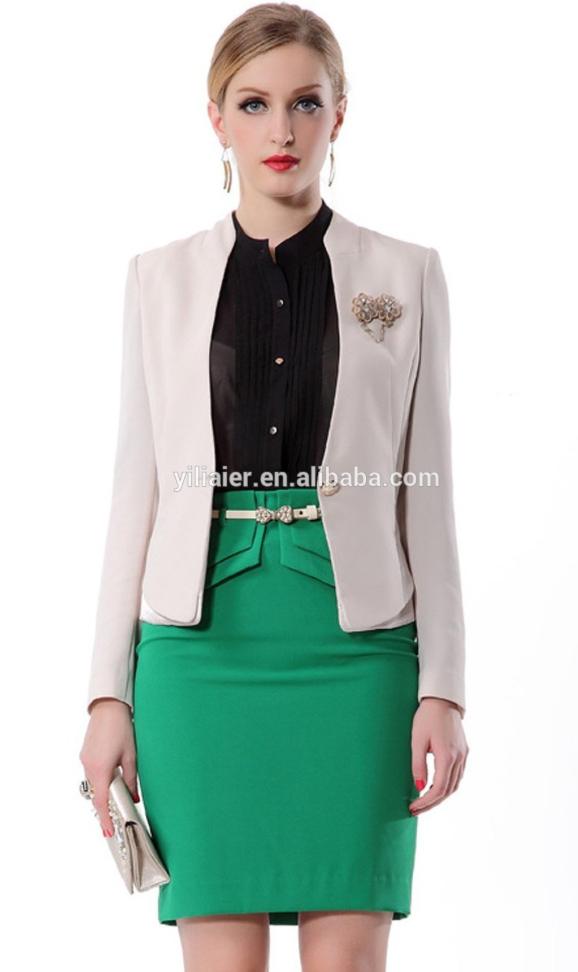 green-emerald-mini-skirt-black-top-blouse-white-jacket-blazer-skinny-belt-earrings-bun-wear-style-fashion-spring-summer-blonde-work.jpg