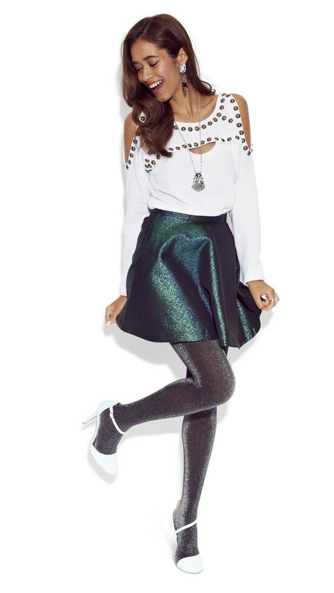 green-dark-mini-skirt-sparkle-white-sweater-cutout-necklace-pend-earrings-brun-black-tights-white-shoe-pumps-fall-winter-holiday-christmas-outfits-dinner.jpg