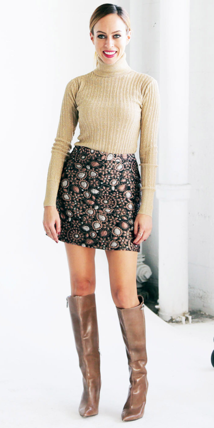 green-dark-mini-skirt-tan-sweater-turtleneck-bun-tan-shoe-boots-fall-winter-hairr-dinner.jpg