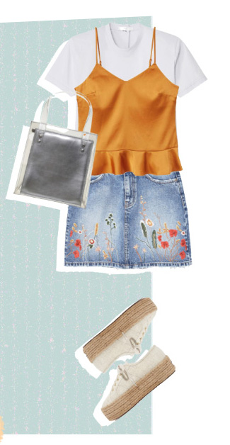 blue-light-mini-skirt-denim-embroidered-gray-bag-silver-white-tee-layer-white-shoe-flats-orange-cami-spring-summer-weekend.jpg