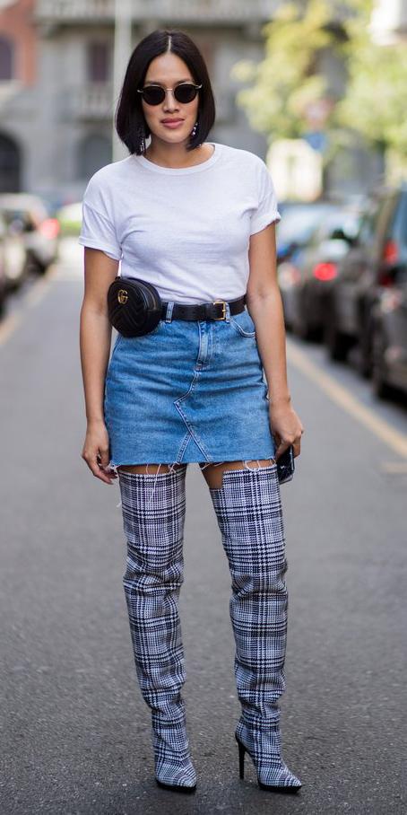 blue-light-mini-skirt-white-tee-black-bag-fannypack-plaid-blue-shoe-boots-otk-brun-bob-sun-fall-winter-lunch.jpg