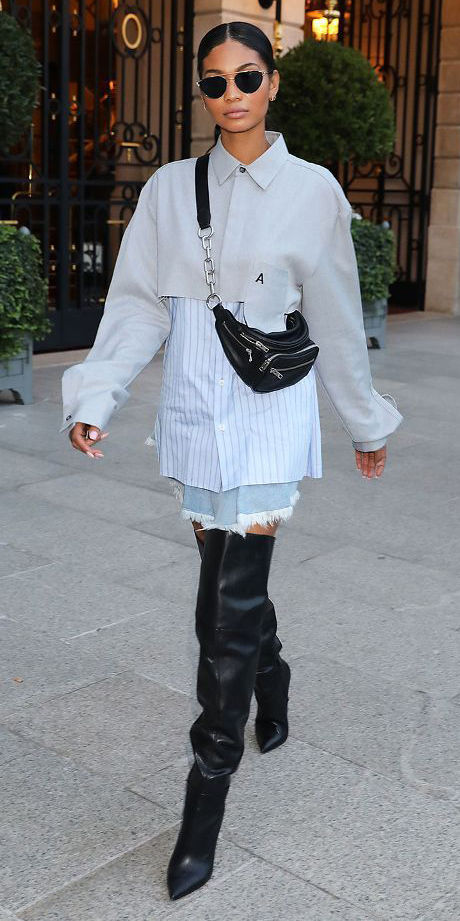 blue-light-mini-skirt-denim-black-bag-fannypack-black-shoe-boots-otk-brun-sun-chaneliman-collared-shirt-layer-fall-winter-lunch.jpg