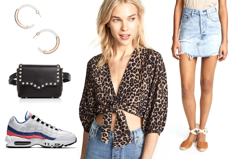 blue-light-mini-skirt-denim-black-bag-white-shoe-sneakers-leopard-print-tan-crop-top-hoops-laborday-spring-summer-weekend.jpg