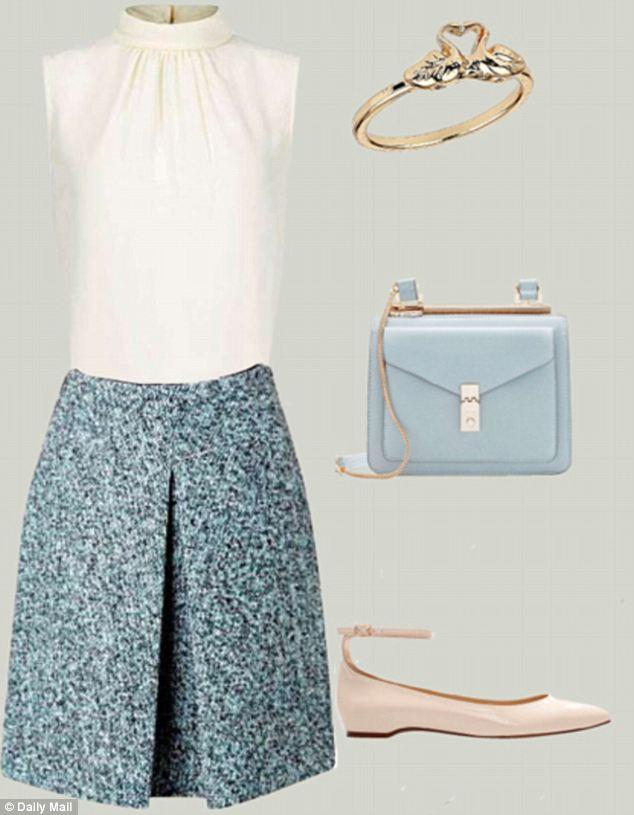 how-to-style-blue-light-mini-skirt-blue-bag-white-shoe-flats-white-top-blouse-ring-spring-summer-fashion-tweed-work.jpg
