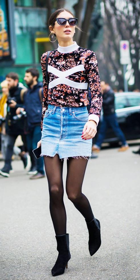 blue-light-mini-skirt-orange-sweater-print-sun-hoops-bun-wear-style-fashion-fall-winter-denim-graphic-black-shoe-booties-black-tights-hairr-lunch.jpg