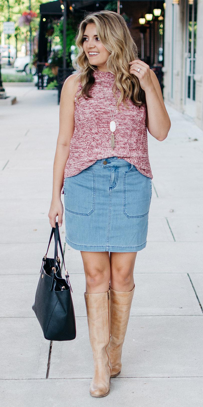 blue-light-mini-skirt-pink-light-sweater-sleeveless-tan-shoe-boots-necklace-pend-blonde-fall-winter-lunch.jpg