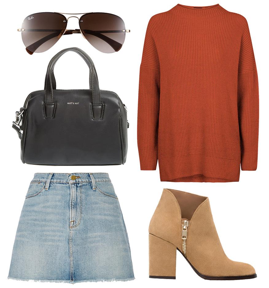 blue-light-mini-skirt-tan-shoe-booties-orange-sweater-sun-black-bag-fall-winter-weekend.jpg