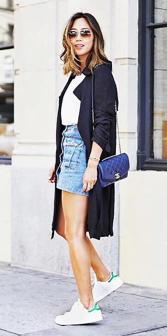 blue-light-mini-skirt-blue-bag-hairr-sun-white-shoe-sneakers-black-jacket-coat-trench-spring-summer-weekend.jpg