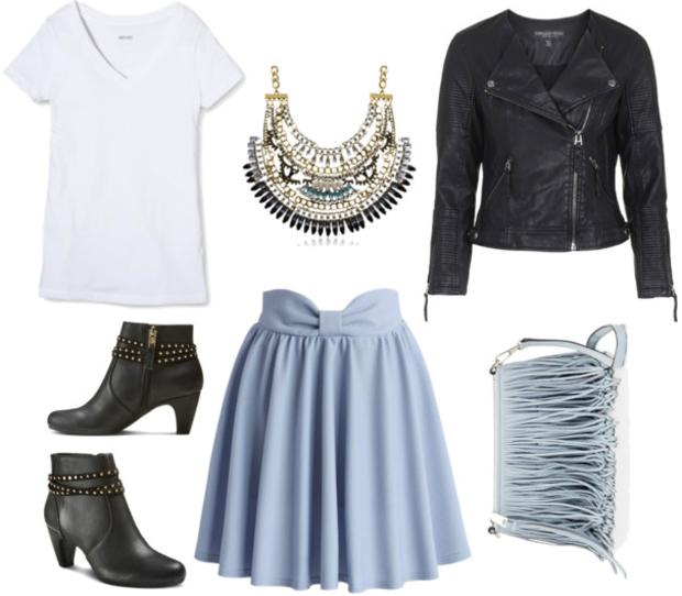 blue-light-mini-skirt-white-tee-black-jacket-moto-blue-bag-fringe-howtowear-fashion-style-outfit-spring-summer-bib-necklace-black-shoe-booties-dinner.jpg