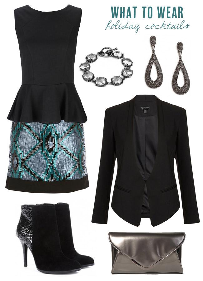 blue-light-mini-skirt-sequin-black-top-peplum-black-jacket-blazer-bracelet-earrings-gray-bag-clutch-black-shoe-booties-cocktail-party-howtowear-fashion-style-outfit-fall-winter-holiday-dinner.jpg