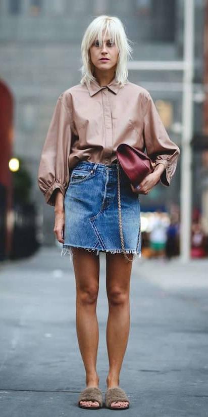 blue-med-mini-skirt-denim-camel-collared-shirt-burgundy-bag-tan-shoe-sandals-slides-fur-spring-summer-blonde-lunch.jpg