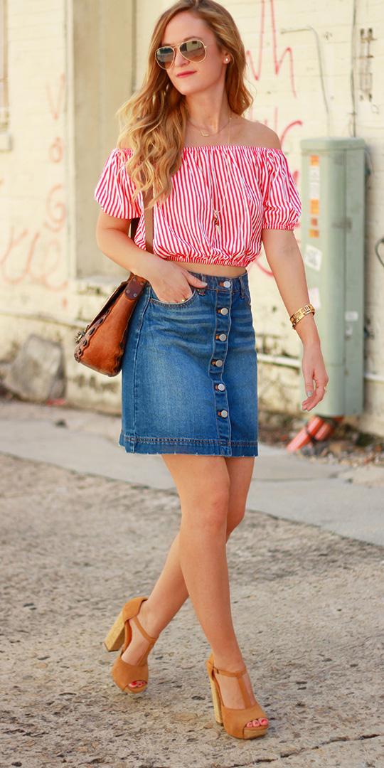 blue-med-mini-skirt-denim-vertical-stripe-sun-cognac-bag-tan-shoe-sandalh-red-top-offshoulder-spring-summer-blonde-lunch.jpg