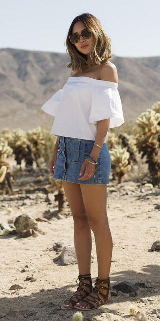 blue-med-mini-skirt-denim-white-top-offshoulder-brown-shoe-sandals-sun-spring-summer-hairr-weekend.jpg