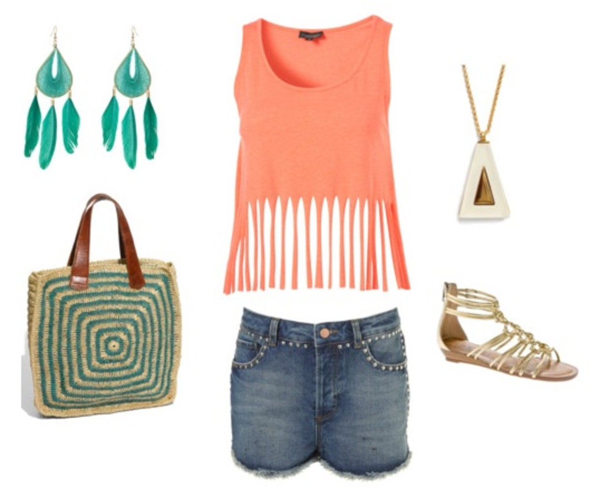 blue-med-mini-skirt-peach-top-crop-green-earrings-necklace-pend-tan-shoe-sandals-green-bag-tote-turquoise-spring-summer-weekend.jpg