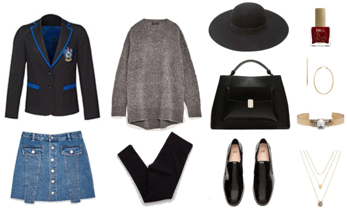 blue-med-mini-skirt-denim-black-jacket-blazer-grayl-sweater-black-tights-black-shoe-loafers-black-bag-hoops-hat-fall-winter-lunch.jpg