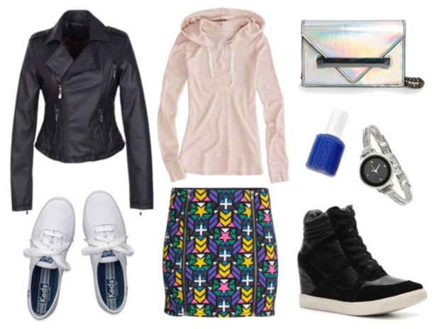 blue-med-mini-skirt-r-pink-light-sweater-black-jacket-moto-nail-howtowear-fashion-style-outfit-fall-winter-hoodie-print-black-shoe-sneakers-gray-bag-clutch-wedge-watch-lunch.jpg
