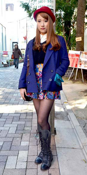 blue-med-mini-skirt-white-top-blouse-black-sweater-blue-navy-jacket-coat-hat-wear-style-fashion-fall-winter-black-shoe-boots-black-tights-floral-blue-hairr-lunch.jpg