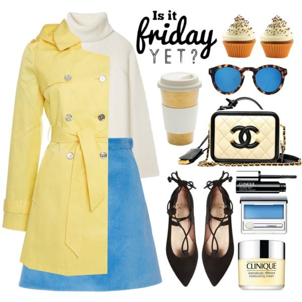 blue-med-mini-skirt-white-sweater-turtleneck-black-shoe-flats-sun-yellow-jacket-coat-trench-fall-winter-lunch.jpg